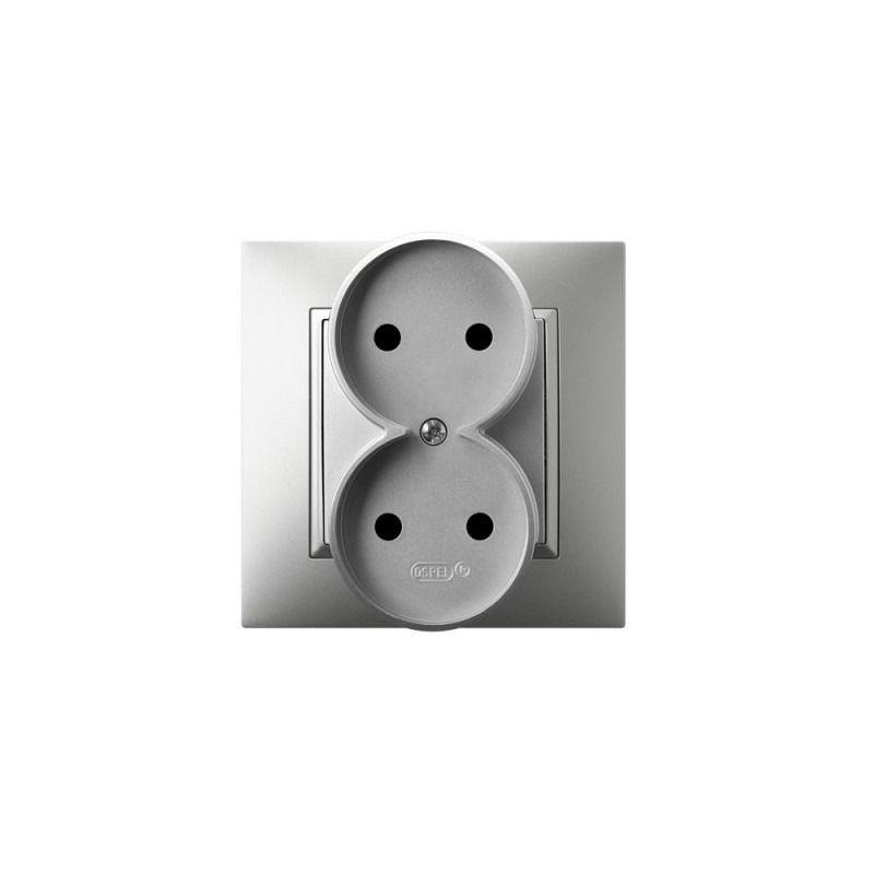 Gniazda-podwojne-podtynkowe - kontakt elektryczny podwójny srebrny gp-2u/18 aria ospel firmy OSPEL