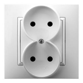 Gniazdo elektryczne podwójne białe GP-2U/00  ARIA OSPEL
