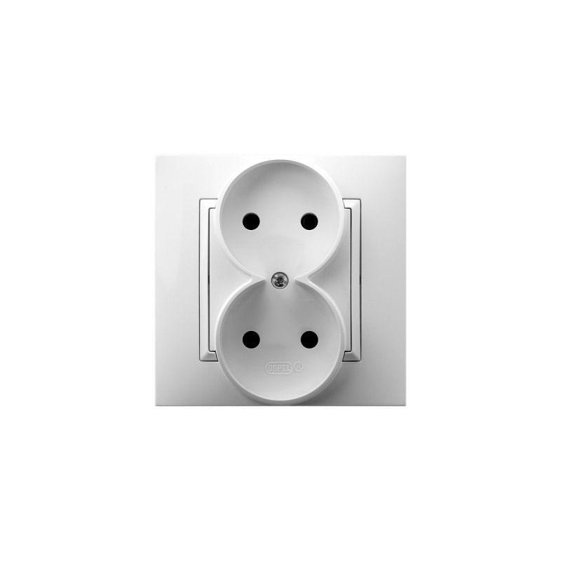 Gniazda-podwojne-podtynkowe - gniazdo elektryczne podwójne białe gp-2u/00  aria ospel firmy OSPEL