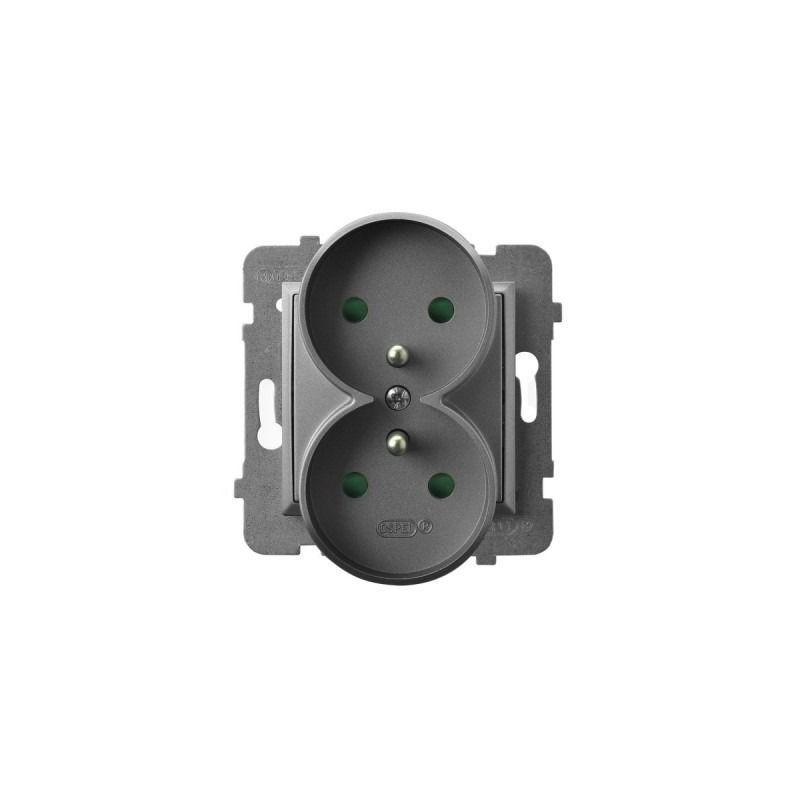 Gniazda-podwojne-podtynkowe - gniazdo podwójne z uziemieniem i przesłonami torów szary mat gp-2urzp/m/70 aria ospel firmy OSPEL