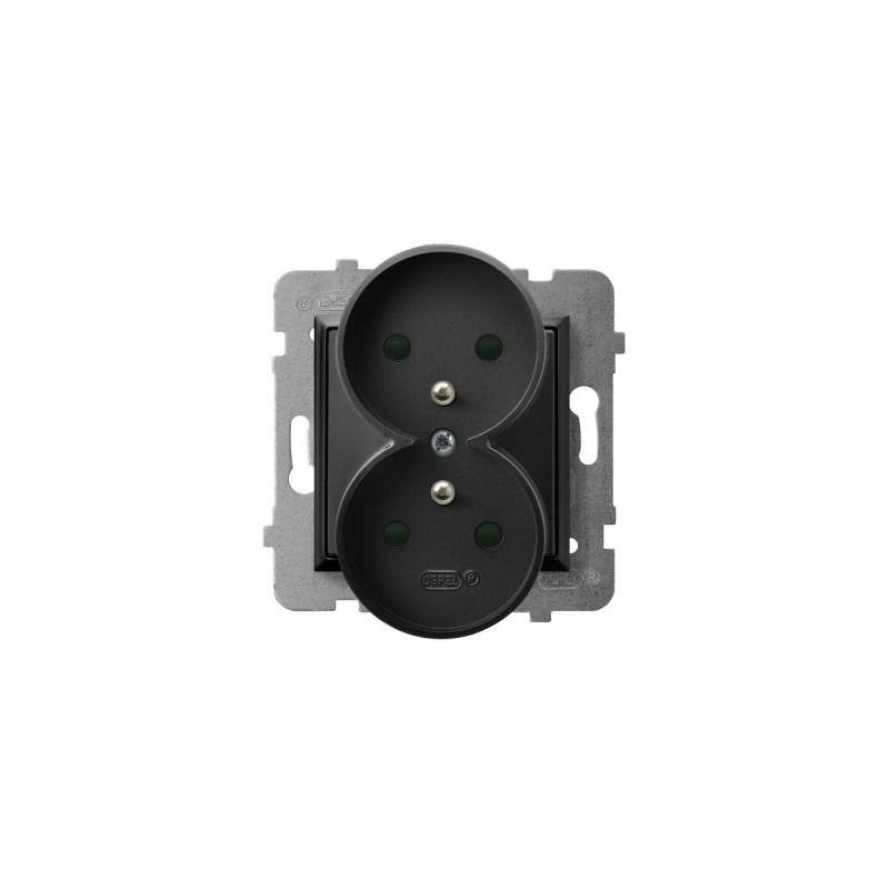 Gniazda-podwojne-podtynkowe - gniazdo podwójne czarne metaliczne z uziemieniem i przesłonami torów gp-2urzp/m/33 aria ospel firmy OSPEL