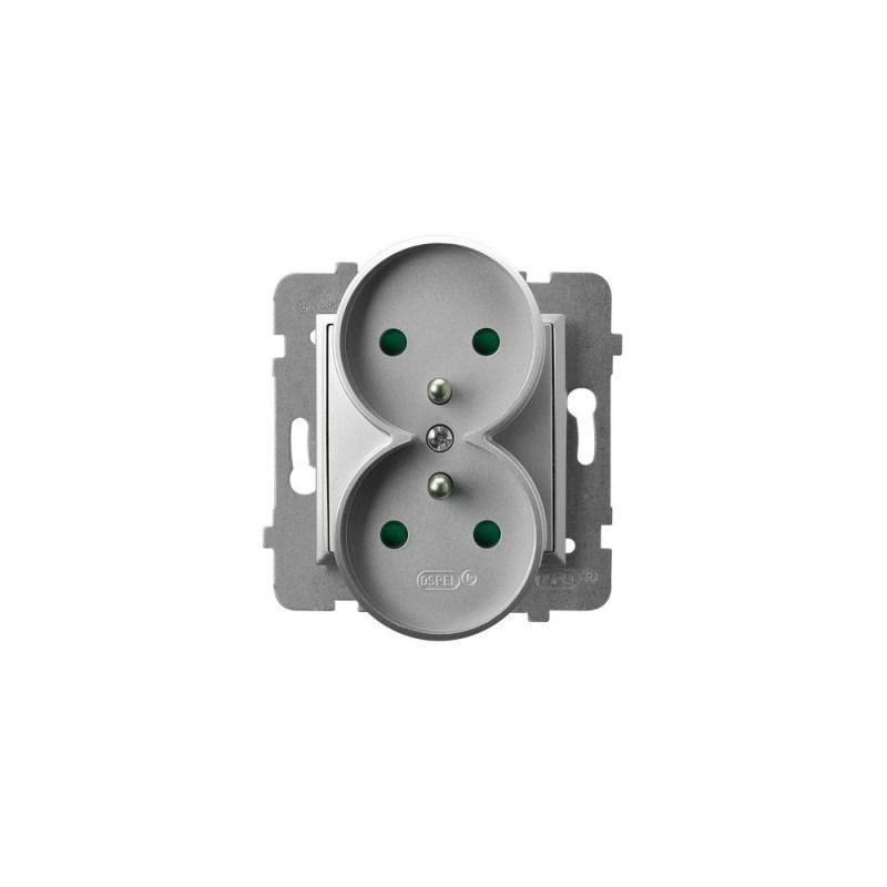 Gniazda-podwojne-podtynkowe - gniazdo podwójne srebrne z uziemieniem i przesłonami torów gp-2urzp/m/18 aria ospel firmy OSPEL