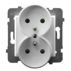 Gniazdo podwójne z uziemieniem i przesłonami torów prądowych białe GP-2URZP/m/00 ARIA OSPEL
