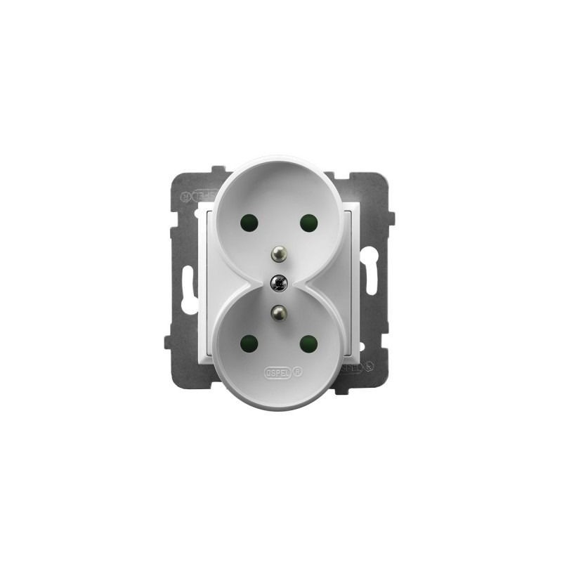 Gniazda-podwojne-podtynkowe - gniazdo podwójne z uziemieniem i przesłonami torów prądowych białe gp-2urzp/m/00 aria ospel firmy OSPEL