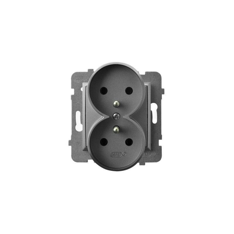 Gniazda-podwojne-podtynkowe - gniazdo podwójne z uziemieniem szary mat gp-2urz/m/70 aria ospel firmy OSPEL