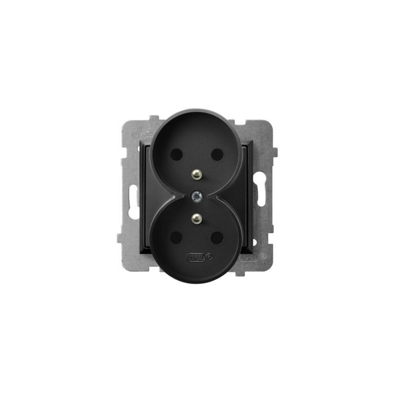 Gniazda-podwojne-podtynkowe - gniazdo podwójne z uziemieniem czarny metalik gp-2urz/m/33 aria ospel firmy OSPEL