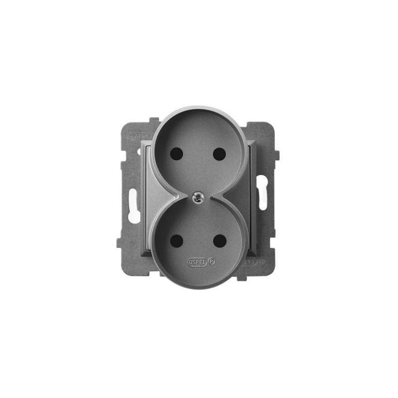Gniazda-podwojne-podtynkowe - gniazdo podwójne szary mat bez uziemienia gp-2ur/m/70 aria ospel firmy OSPEL