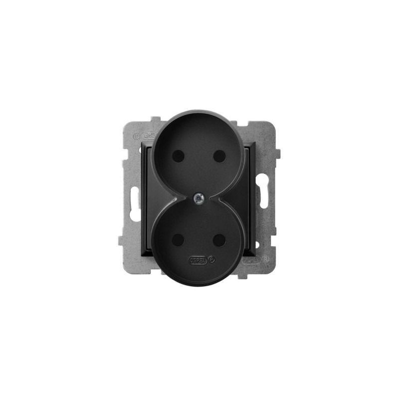 Gniazda-podwojne-podtynkowe - gniazdo podwójne bez uziemienia czarny metalik gp-2ur/m/33 aria ospel firmy OSPEL