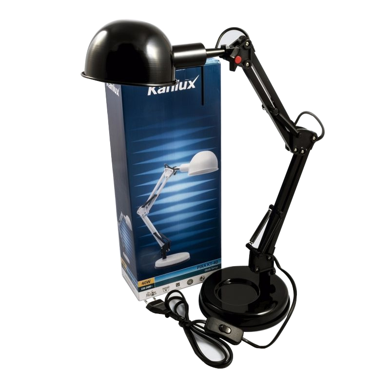 Lampki-biurkowe - nowoczesna czarna lampka biurkowa pixa kt-40-b e14 40w kanlux firmy KANLUX