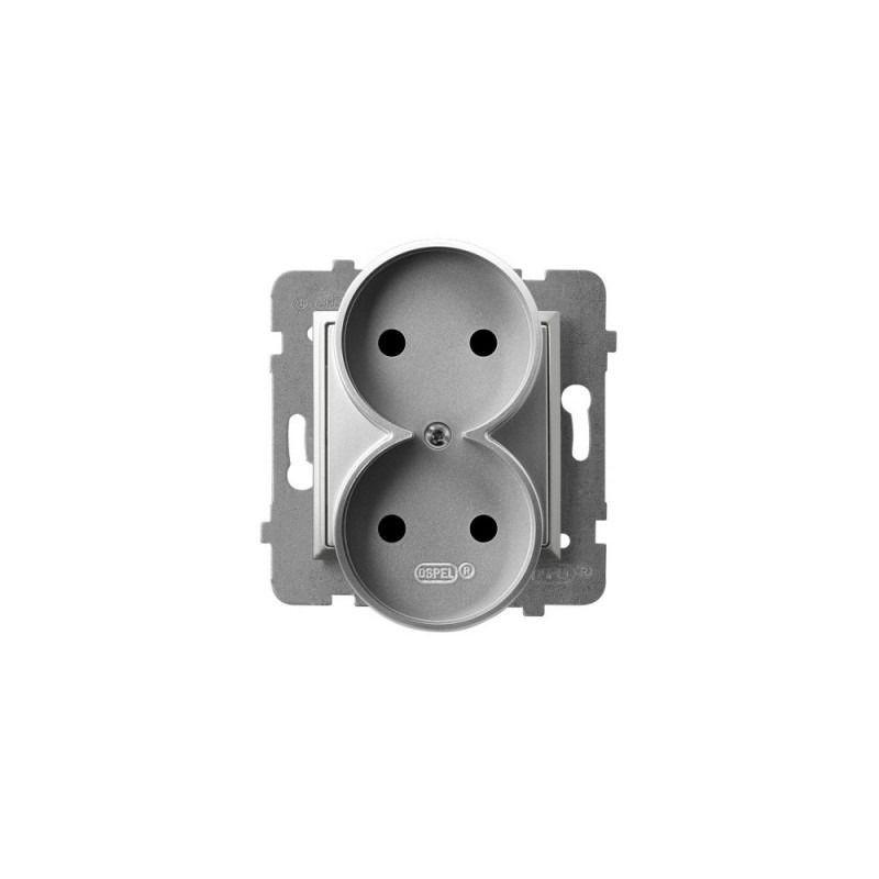 Gniazda-podwojne-podtynkowe - gniazdo podwójne srebrne bez uziemienia gp-2ur/m/18 aria ospel firmy OSPEL