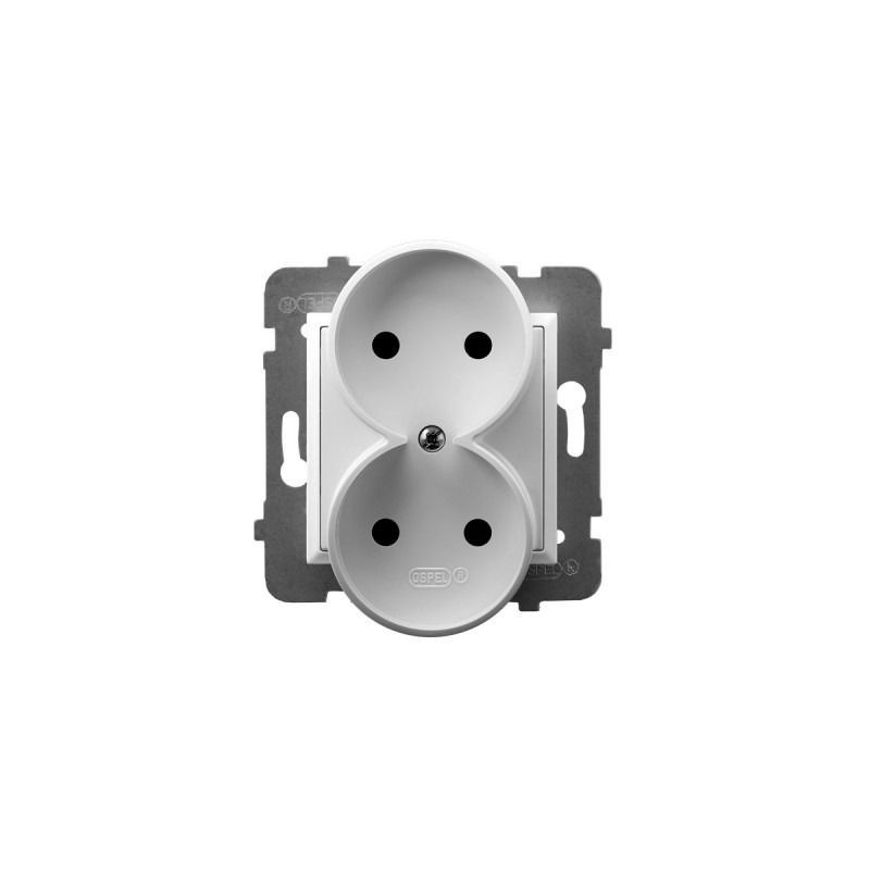Gniazda-podwojne-podtynkowe - gniazdo podwójne białe bez uziemienia gp-2ur/m/00 aria ospel firmy OSPEL