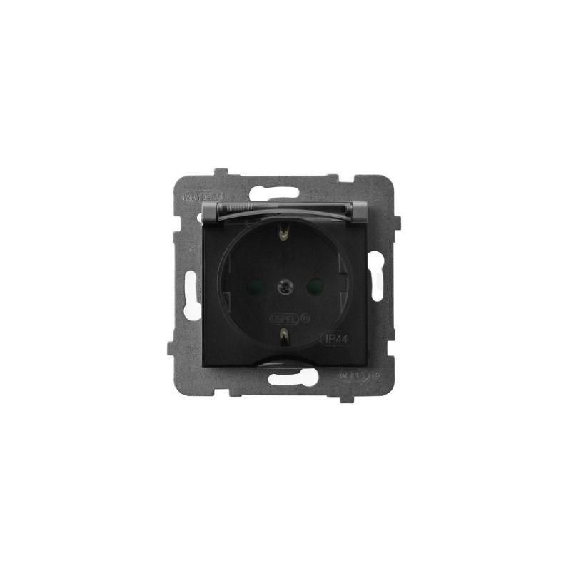Gniazda-pojedyncze-podtynkowe - gniazdo bryzgoszczelne z uziemieniem schuko i przesłonami torów szary mat gph-1usp/m/70/d aria ospel firmy OSPEL