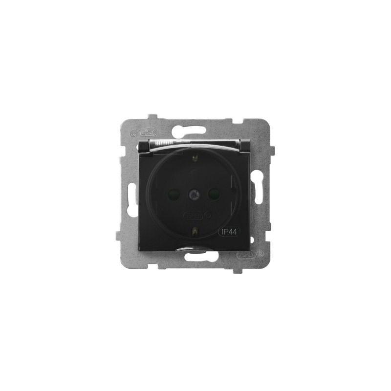 Gniazda-pojedyncze-podtynkowe - gniazdo z klapką uziemienie schuko + przesłony torów czarny metalik gph-1usp/m/33/d aria ospel firmy OSPEL