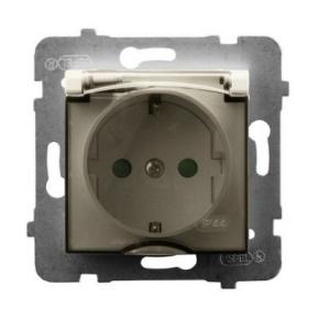 Gniazdo bryzgoszczelne z uziemieniem schuko i przesłonami torów ECRU GPH-1USP/m/27/d ARIA OSPEL