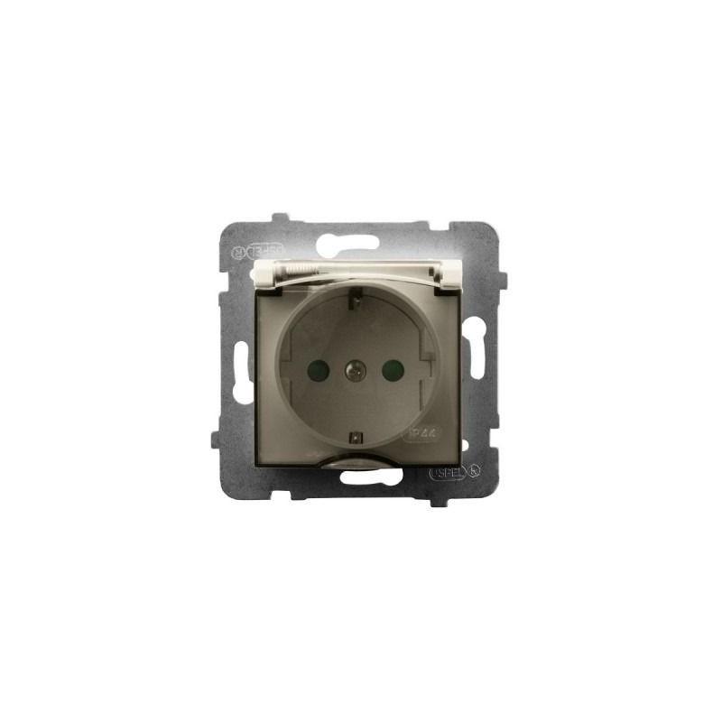 Gniazda-pojedyncze-podtynkowe - gniazdo bryzgoszczelne z uziemieniem schuko i przesłonami torów ecru gph-1usp/m/27/d aria ospel firmy OSPEL