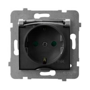 Gniazdko z klapką z uziemieniem schuko i przesłonami torów srebrne GPH-1USP/m/18/d ARIA OSPEL