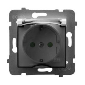 Gniazdo z klapką z uziemieniem schuko i przesłonami torów białe GPH-1USP/m/00/d ARIA OSPEL