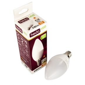 Zarowki-led - żarówka led świeczka mleczna b35 e14 8w-47w 590lm ciepła 200st. energy a+ hd055l heda