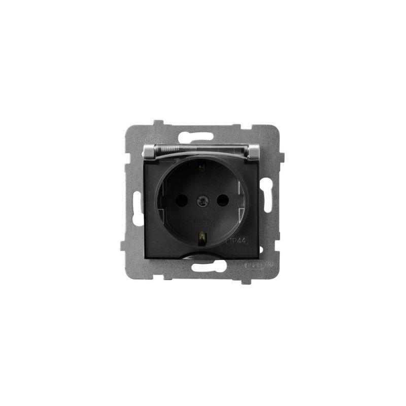 Gniazda-pojedyncze-podtynkowe - gniazdo z klapką i uziemieniem schuko srebrne gph-1us/m/18/d aria ospel firmy OSPEL