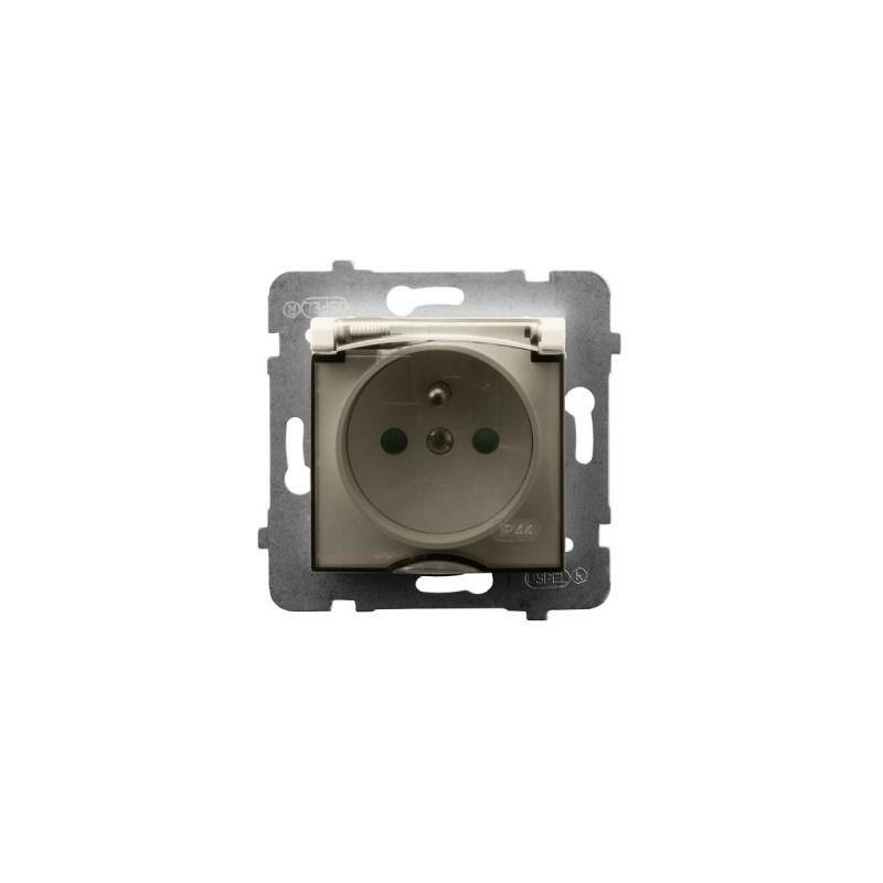 Gniazda-pojedyncze-podtynkowe - gniazdo bryzgoszczelne z uziemieniem i przesłonami torów prądowych ecru gph-1uzp/m/27/d aria ospel firmy OSPEL