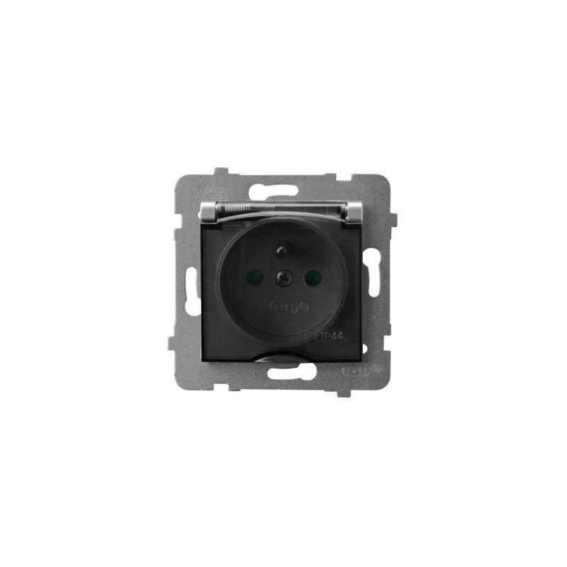 Gniazda-pojedyncze-podtynkowe - gniazdo z klapką przezroczystą uziemieniem i przesłonami torów srebrne aria gph-1uzp/m/18/d ospel firmy OSPEL