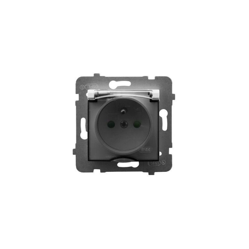 Gniazda-pojedyncze-podtynkowe - gniazdo bryzgoszczelne z uziemieniem i przesłonami torów białe gph-1uzp/m/00/d aria ospel firmy OSPEL