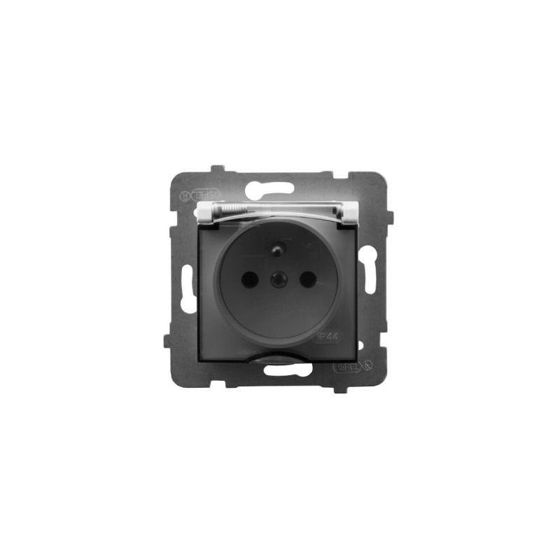 Gniazda-pojedyncze-podtynkowe - gniazdo z klapką przezroczystą z uziemieniem białe ip44 gph-1uz/m/00/d aria ospel firmy OSPEL