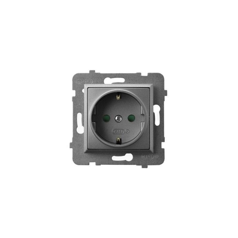 Gniazda-pojedyncze-podtynkowe - gniazdo pojedyncze z uziemieniem schuko i przesłonami torów szary mat gp-1usp/m/70 aria ospel firmy OSPEL