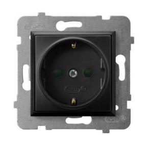 Gniazdo pojedyncze z uziemieniem schuko i przesłonami torów czarny metalik GP-1USP/m/33 ARIA OSPEL