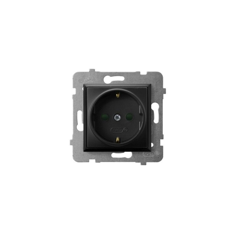 Gniazda-pojedyncze-podtynkowe - gniazdo pojedyncze z uziemieniem schuko i przesłonami torów czarny metalik gp-1usp/m/33 aria ospel firmy OSPEL