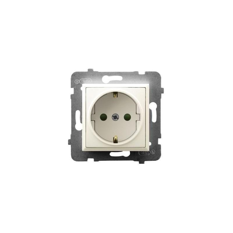 Gniazda-pojedyncze-podtynkowe - gniazdo pojedyncze z uziemieniem schuko i przesłonami torów ecru gp-1usp/m/27 aria ospel firmy OSPEL