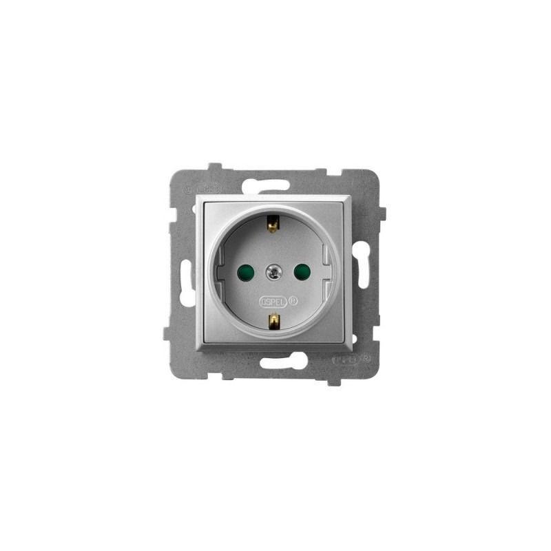 Gniazda-pojedyncze-podtynkowe - gniazdo pojedyncze z uziemieniem schuko i przesłonami torów srebrne gp-1usp/m/18 aria ospel firmy OSPEL
