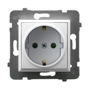 Gniazdo pojedyncze z uziemieniem schuko i przesłonami torów białe GP-1USP/m/00 ARIA OSPEL
