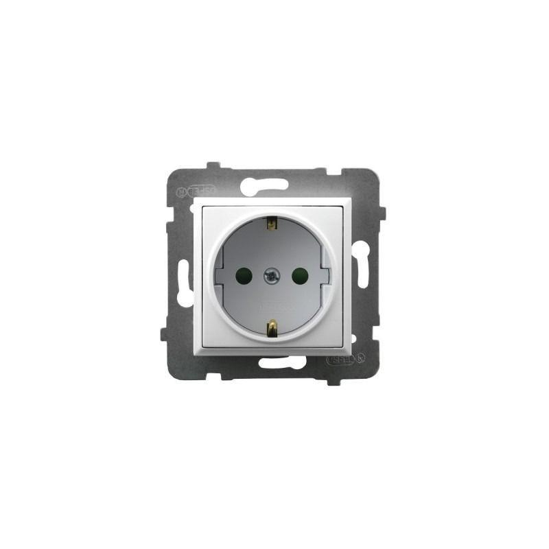 Gniazda-pojedyncze-podtynkowe - gniazdo pojedyncze z uziemieniem schuko i przesłonami torów białe gp-1usp/m/00 aria ospel firmy OSPEL