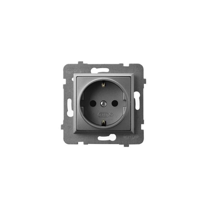 Gniazda-pojedyncze-podtynkowe - gniazdo pojedyncze z uziemieniem schuko szary mat gp-1us/m/70 aria ospel firmy OSPEL