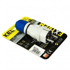 Przedluzacze-elektryczne - wtyczka prosta z dławikiem zewnętrzna szaro-niebieska 16a 250v wt-54 plastrol