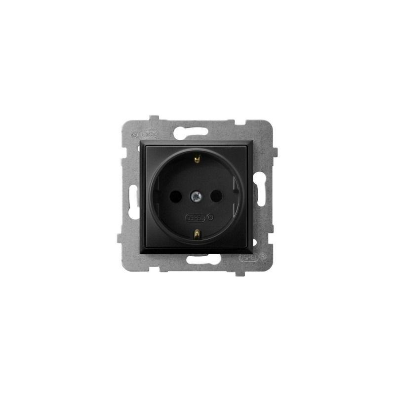 Gniazda-pojedyncze-podtynkowe - gniazdo pojedyncze z uziemieniem schuko czarny metalik gp-1us/m/33 aria ospel firmy OSPEL