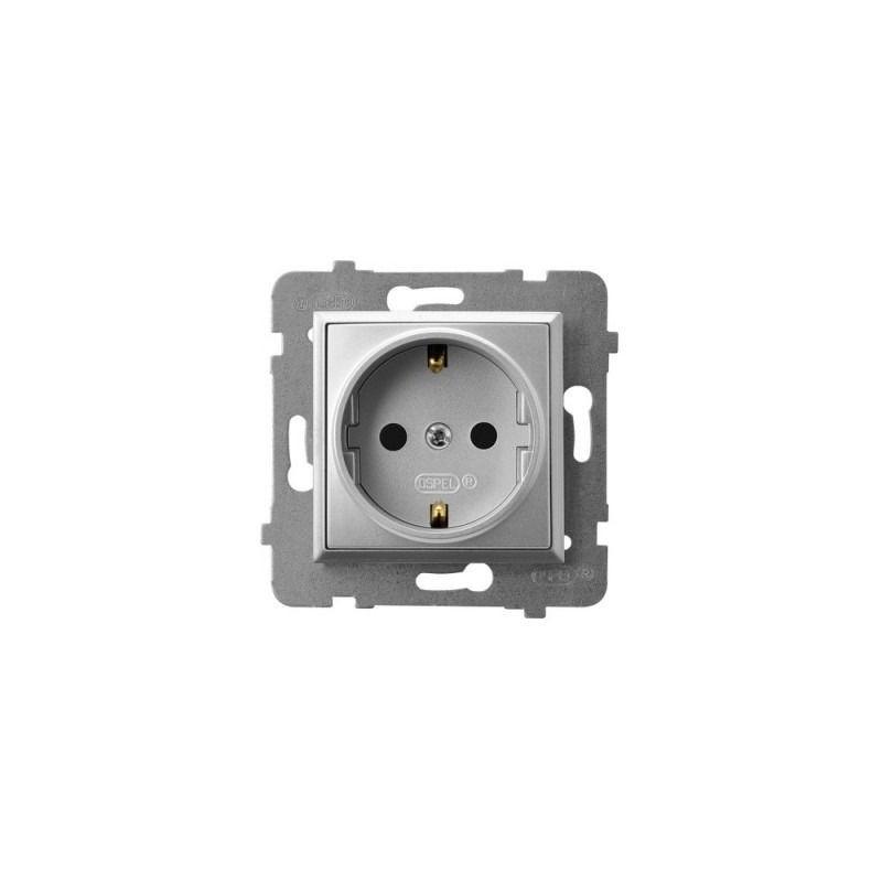 Gniazda-pojedyncze-podtynkowe - gniazdo pojedyncze z uziemieniem schuko srebrne gp-1us/m/18  aria ospel firmy OSPEL