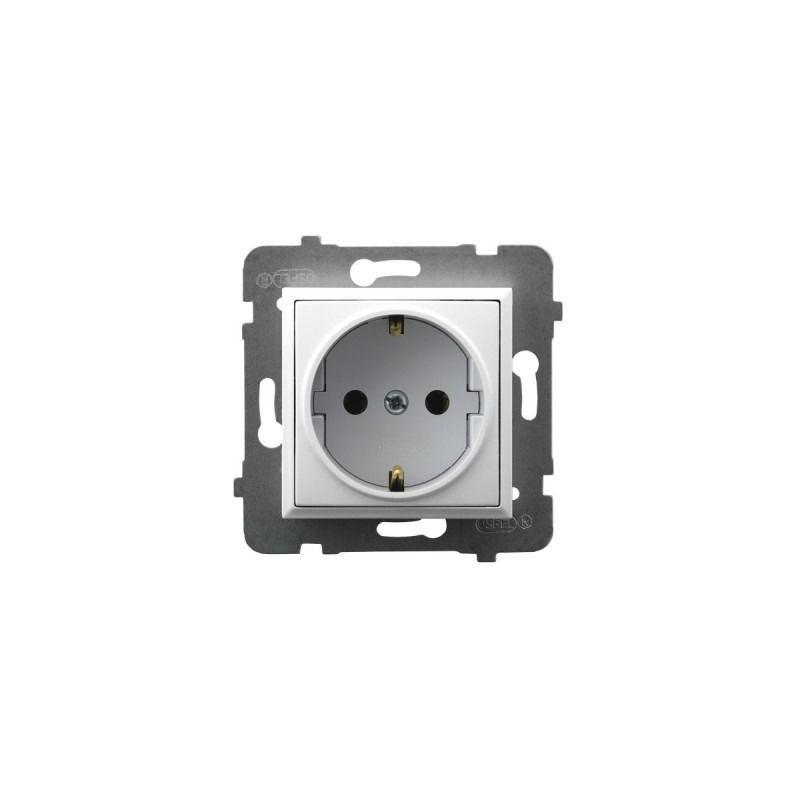 Gniazda-pojedyncze-podtynkowe - gniazdo pojedyncze z uziemieniem schuko białe gp-1us/m/00 aria ospel firmy OSPEL