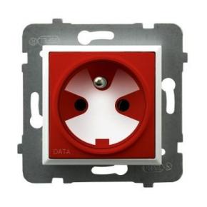Gniazdo pojedyncze z uziemieniem DATA z kluczem uprawniającym białe GP-1UZK/m/00/22 ARIA OSPEL