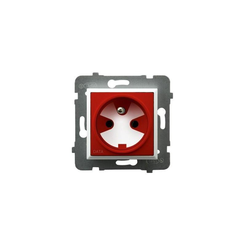Gniazda-pojedyncze-podtynkowe - gniazdo pojedyncze z uziemieniem data z kluczem uprawniającym białe gp-1uzk/m/00/22 aria ospel firmy OSPEL