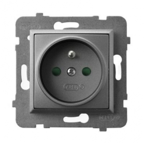 Gniazdo pojedyncze z uziemieniem i przesłonami torów prądowych szary mat GP-1UZP/m/70 ARIA OSPEL