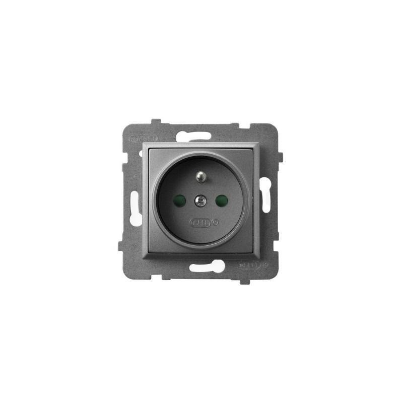 Gniazda-pojedyncze-podtynkowe - gniazdo pojedyncze z uziemieniem i przesłonami torów prądowych szary mat gp-1uzp/m/70 aria ospel firmy OSPEL
