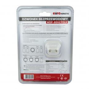 Dzwonki-do-drzwi-bezprzewodowe - dzwonek bezprzewodowy biały z przyciskiem kinetycznym 100m wdp-80h2 folk eura kinetic