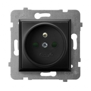 Gniazda-pojedyncze-podtynkowe - gniazdo pojedyncze z uziemieniem i przesłonami torów prądowych czarny metalik gp-1uzp/m/33 aria ospel