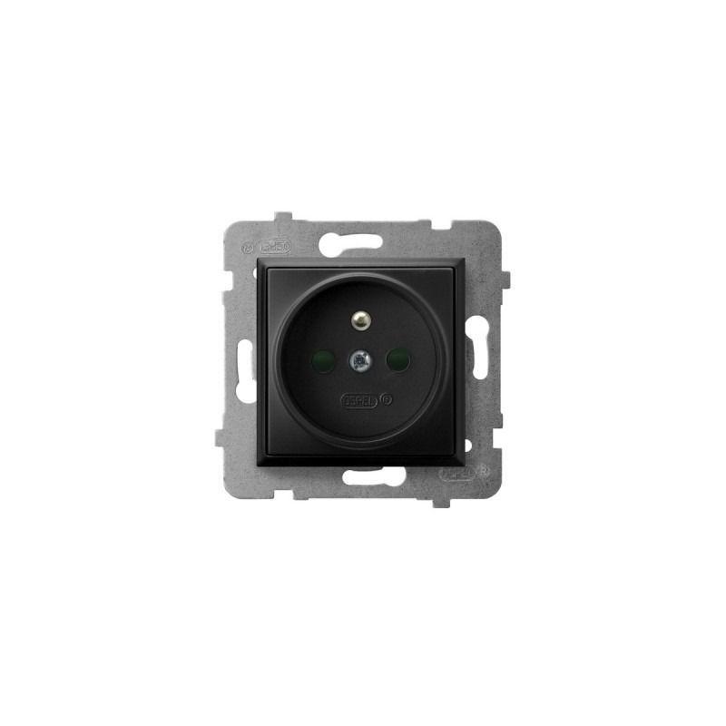 Gniazda-pojedyncze-podtynkowe - gniazdo pojedyncze z uziemieniem i przesłonami torów prądowych czarny metalik gp-1uzp/m/33 aria ospel firmy OSPEL