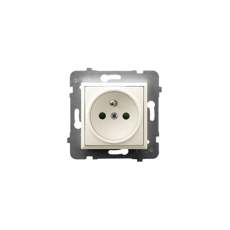 Gniazda-pojedyncze-podtynkowe - gniazdo pojedyncze z uziemieniem i przesłonami torów prądowych ecru gp-1uzp/m/27 aria ospel firmy OSPEL