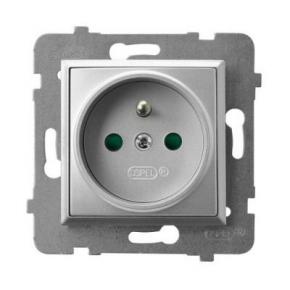 Gniazdo pojedyncze z uziemieniem i przesłonami torów prądowych srebrne GP-1UZP/m/18 ARIA OSPEL