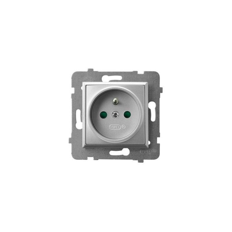 Gniazda-pojedyncze-podtynkowe - gniazdo pojedyncze z uziemieniem i przesłonami torów prądowych srebrne gp-1uzp/m/18 aria ospel firmy OSPEL