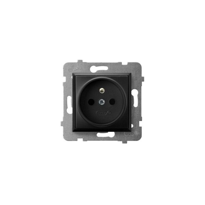 Gniazda-pojedyncze-podtynkowe - gniazdo pojedyncze z uziemieniem czarny metalik gp-1uz/m/33 aria ospel firmy OSPEL